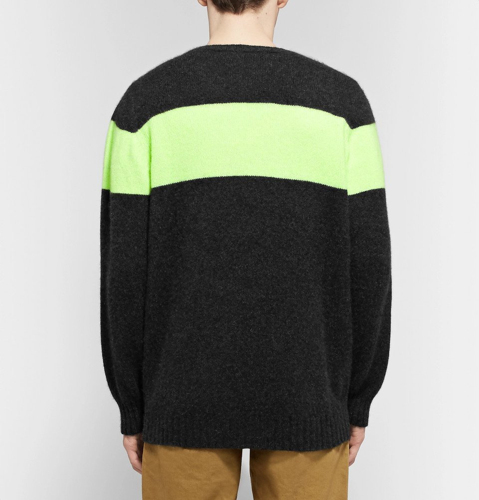 The Elder Statesman - Striped Cashmere Sweater - Charcoal