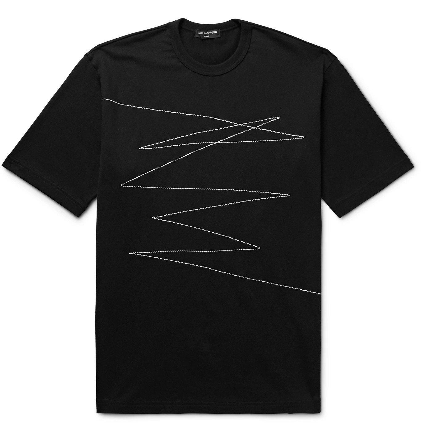 Photo: Comme des Garçons HOMME - Embroidered Cotton-Jersey T-Shirt - Black