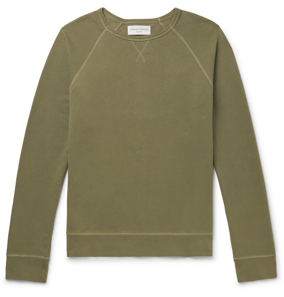Photo: Officine Generale - Garment-Dyed Fleece-Back Cotton-Jersey Sweatshirt - Green