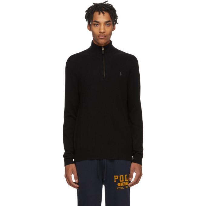 Photo: Polo Ralph Lauren Black Wool Half-Zip Sweater
