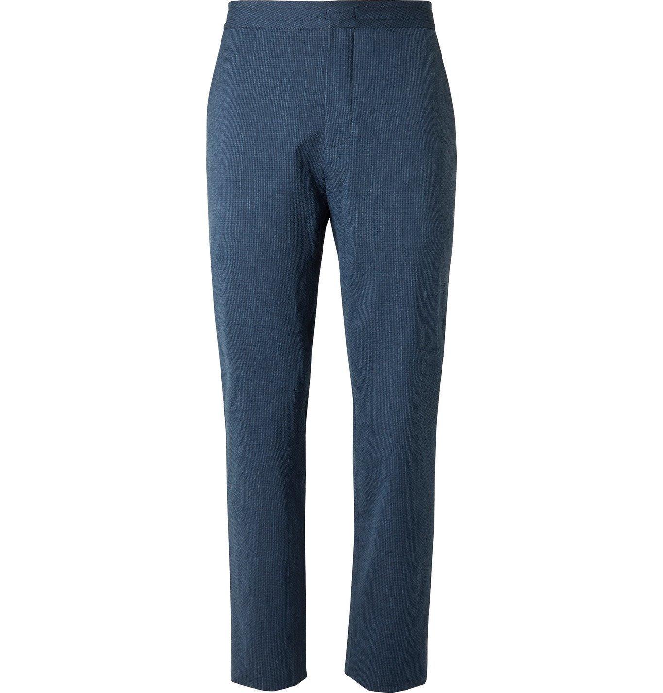 Photo: Ermenegildo Zegna - Slim-Fit Wool-Blend Seersucker Suit Trousers - Blue