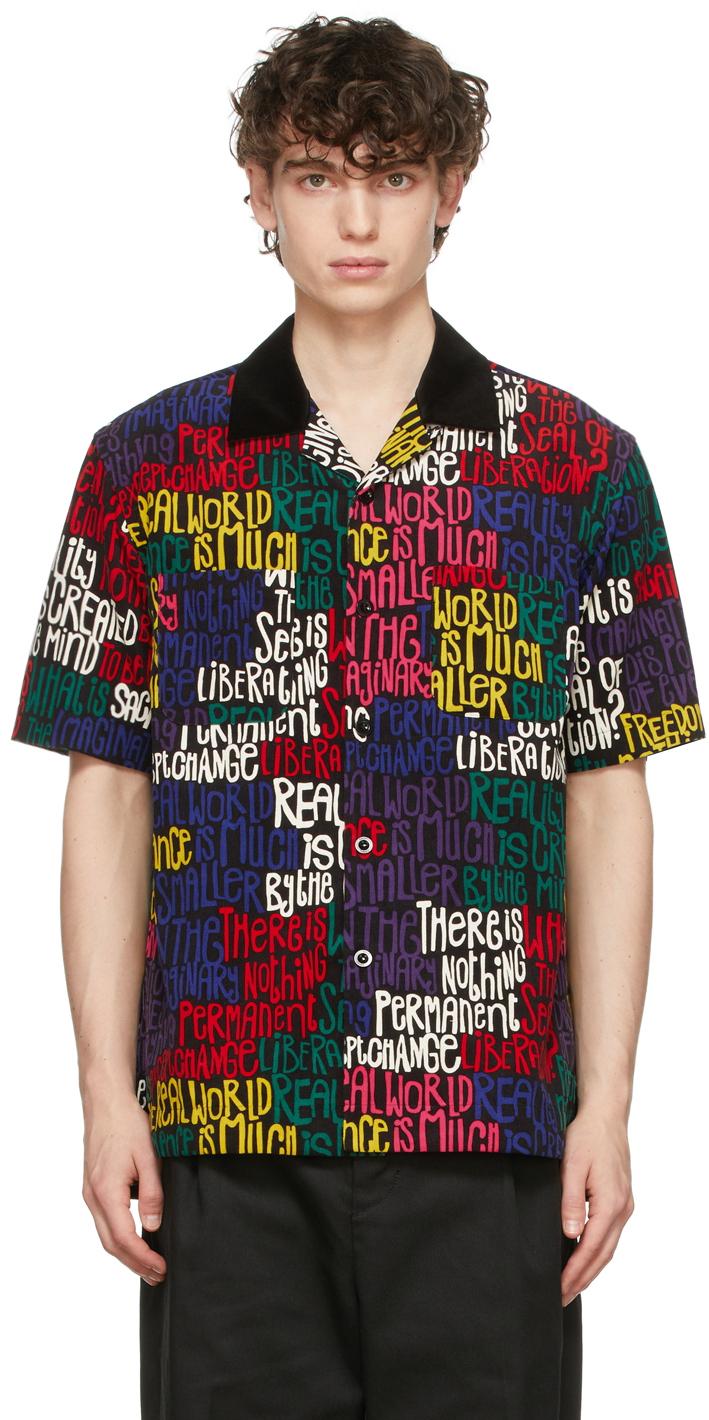 Photo: Sacai Black Eric Haze Edition Message Print Short Sleeve Shirt