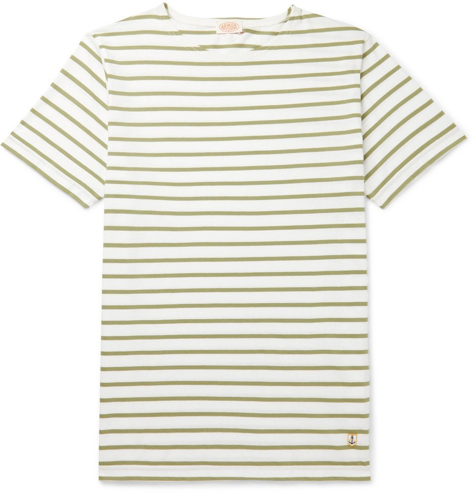 Photo: Armor Lux - Slim-Fit Striped Cotton-Jersey T-Shirt - Green