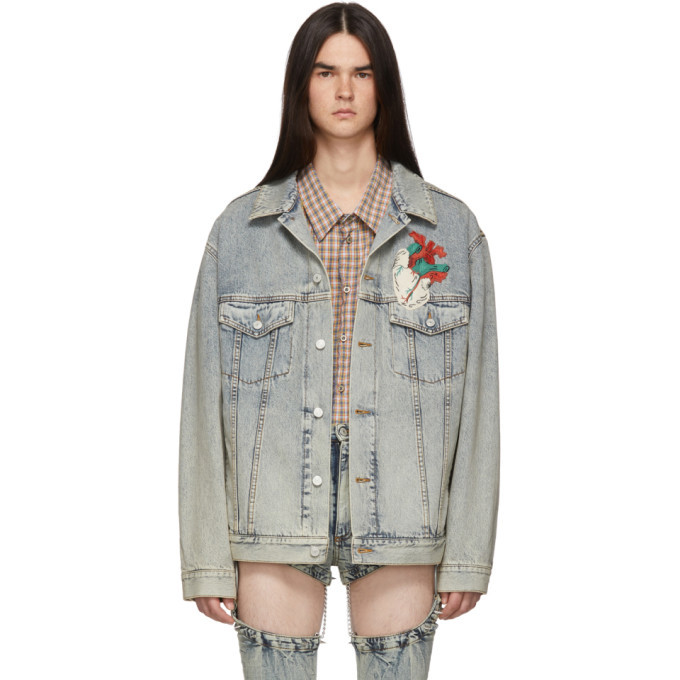 772b2ee43 Gucci Blue Denim Oversized Embroidered Jacket Gucci