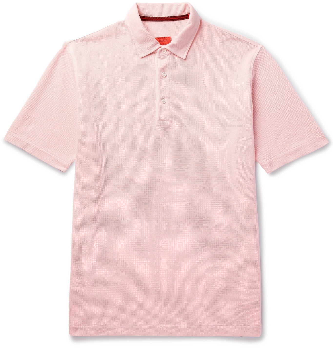 Photo: Isaia - Garment-Dyed Cotton-Piqué Polo Shirt - Pink