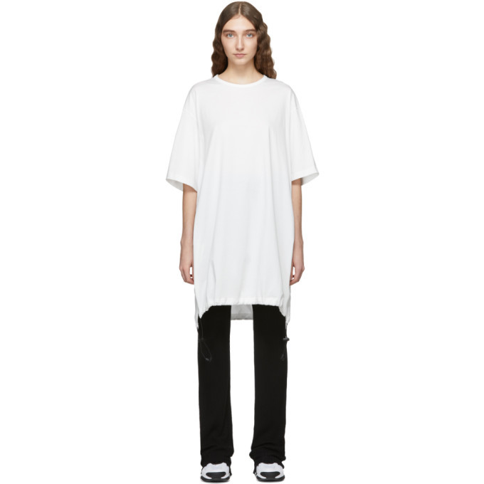 Photo: Y-3 White Drawstring Long T-Shirt Dress