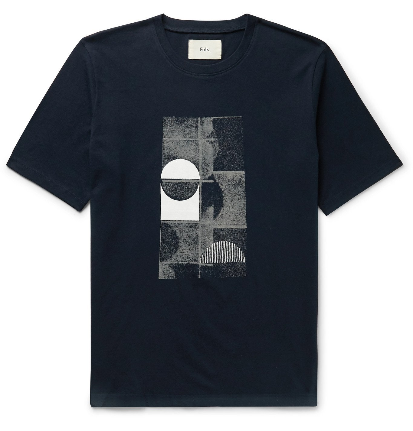Photo: Folk - Fracture Printed Embroidered Cotton-Jersey T-Shirt - Blue