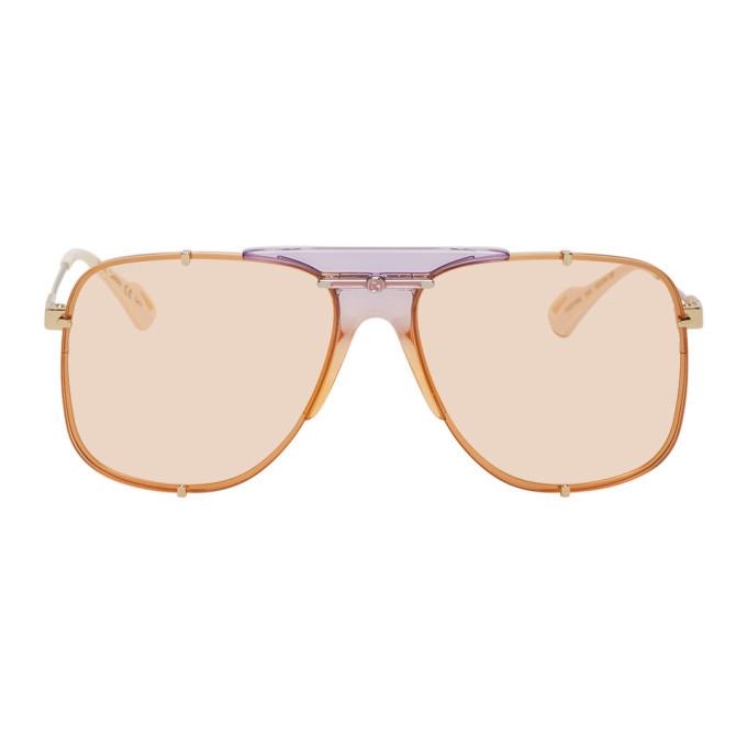 Photo: Gucci Gold and Orange Bold Bridge Sunglasses