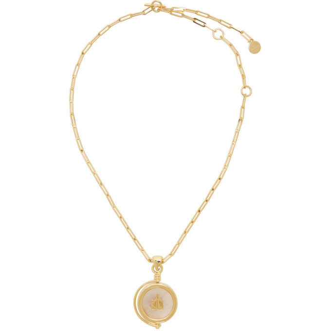 Photo: Lanvin Gold and Pink Agathe Stone Pendant Necklace