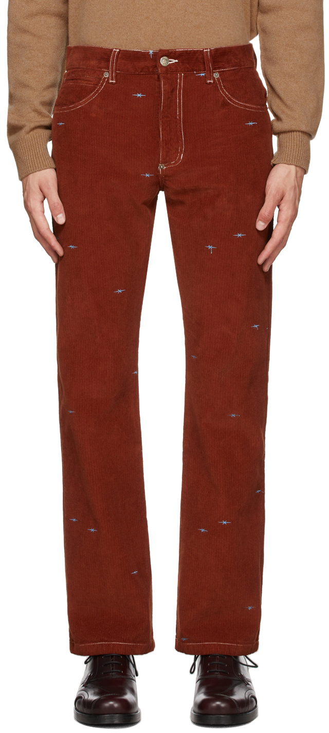 Photo: Phipps Red Corduroy Straight-Leg Trousers
