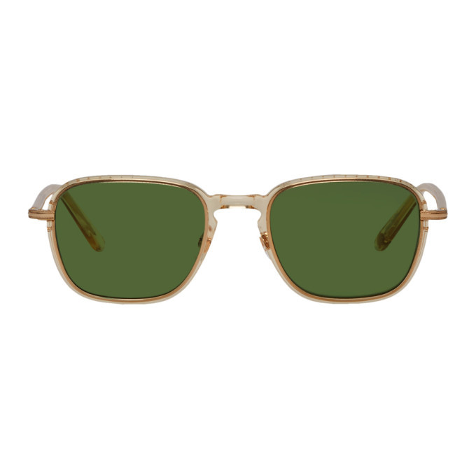 Photo: Garrett Leight Beige and Green Pier Sunglasses