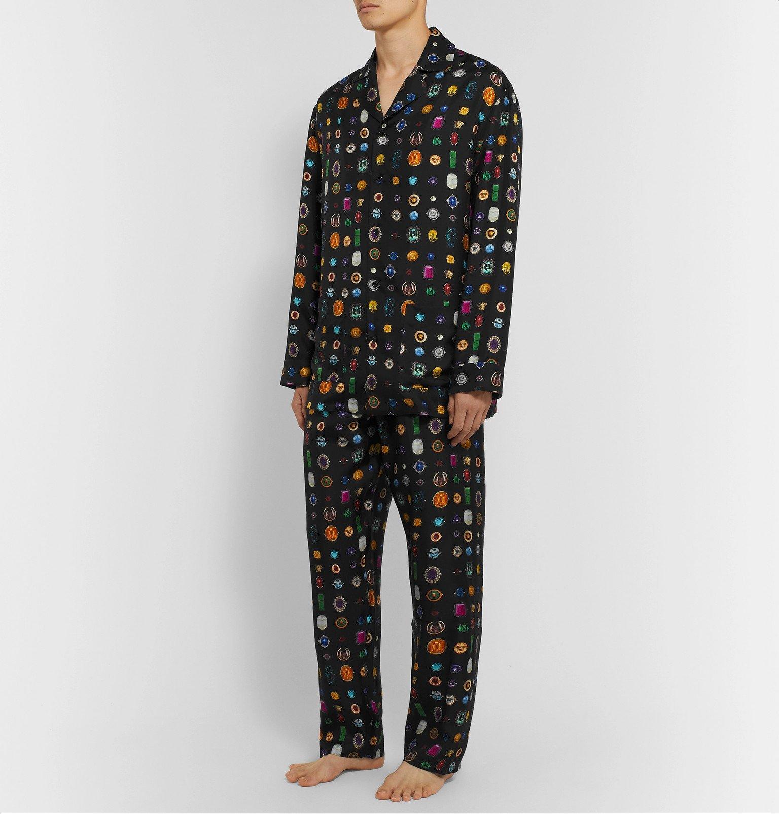 Versace - Printed Silk-Twill Pyjama Trousers - Black