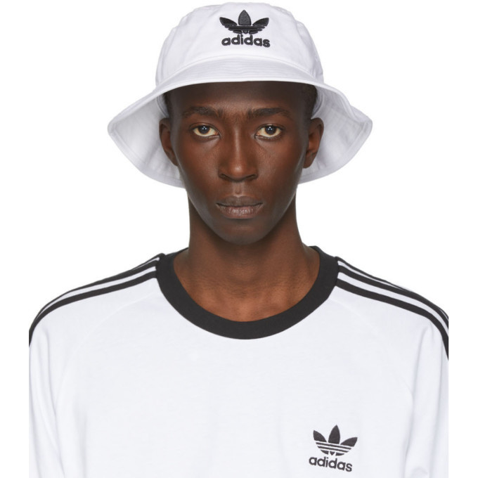 adidas Originals White and Black Adicolor Bucket Hat