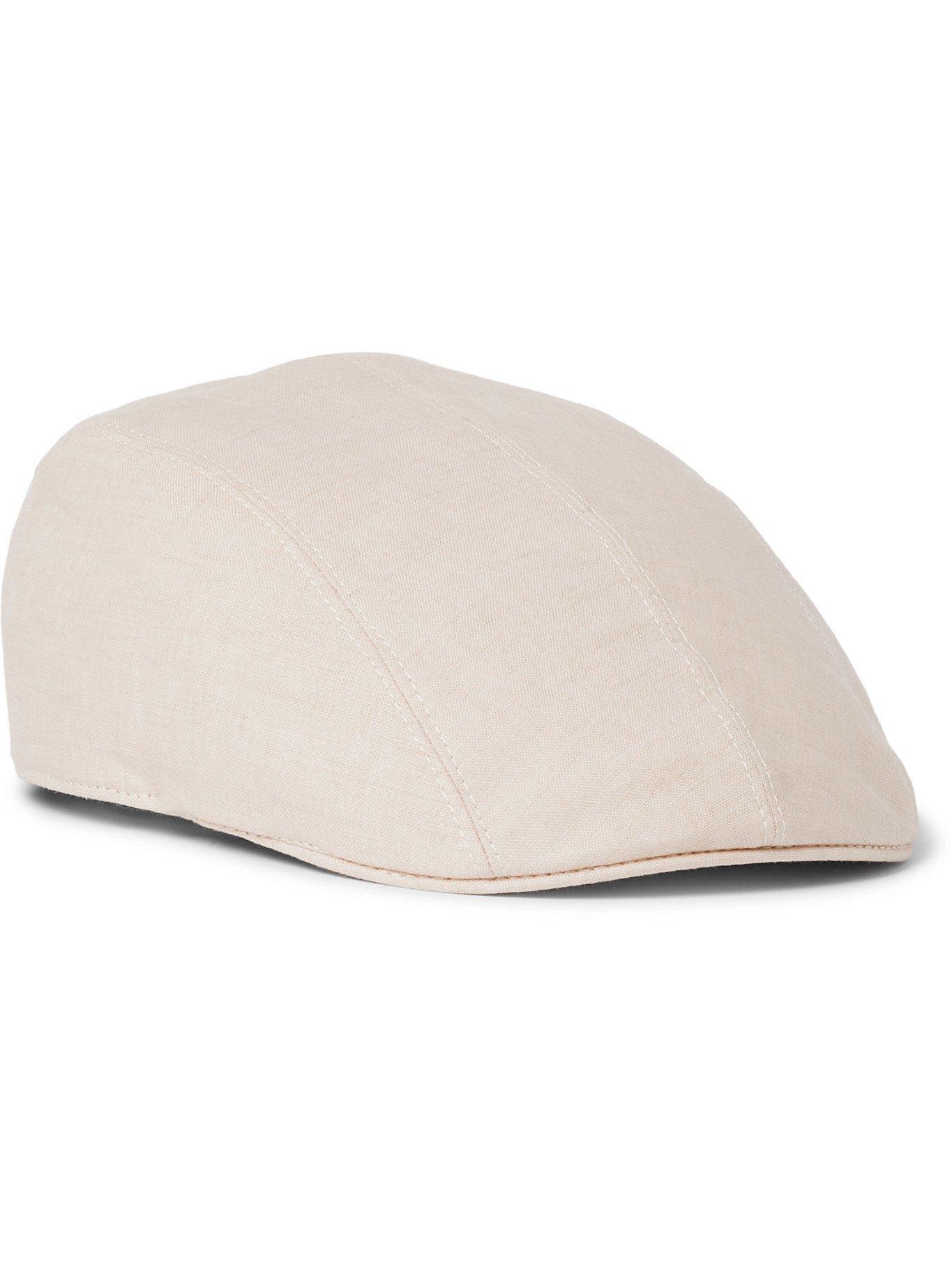 Photo: BRUNELLO CUCINELLI - Leather-Trimmed Linen Flat Cap - Neutrals
