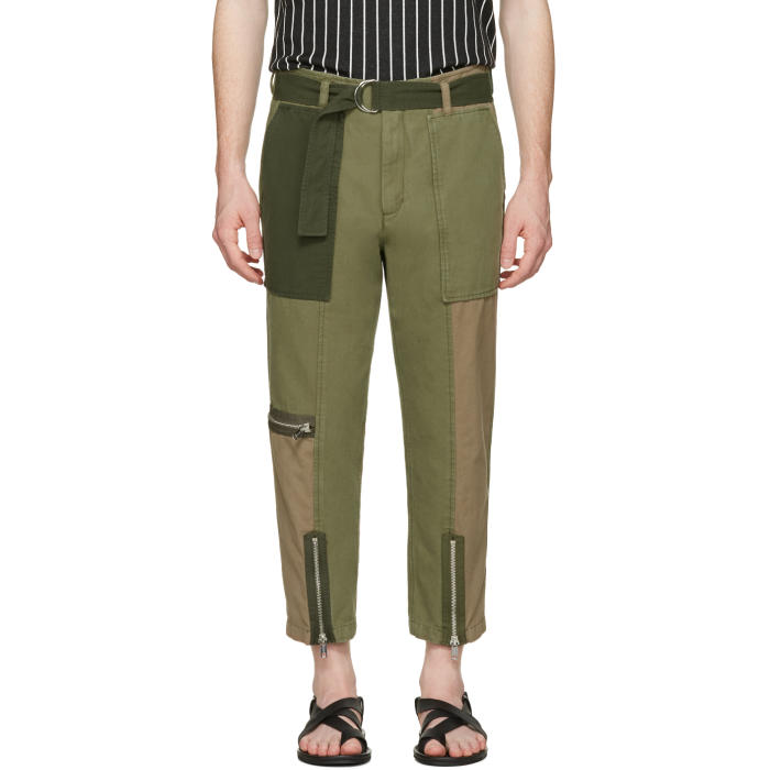 3.1 Phillip Lim Green Patchwork Flight Trousers