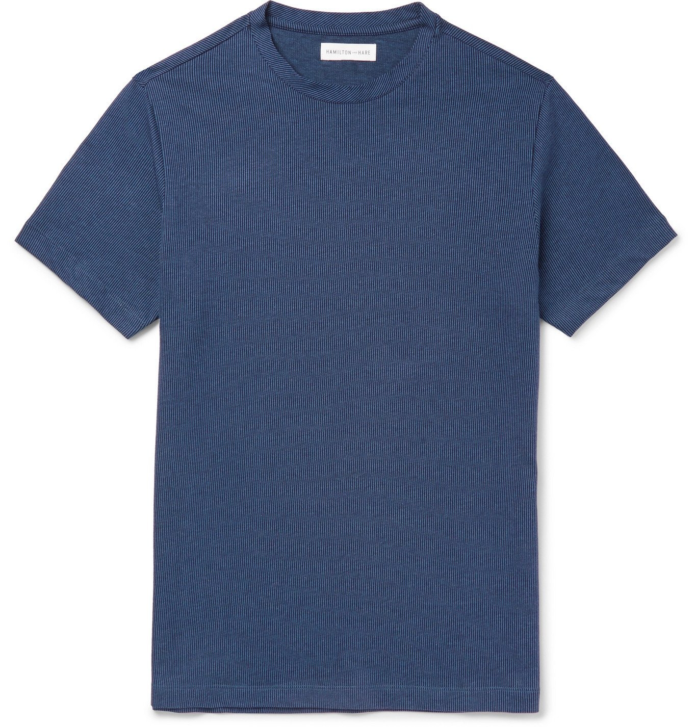 Photo: Hamilton and Hare - Pinstriped Cotton-Jersey T-Shirt - Blue