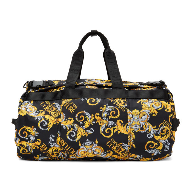 Versace Jeans Couture Black and Gold Barrocco Logo Duffle Bag