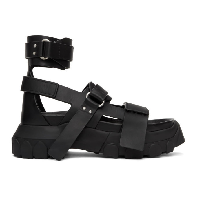 Photo: Rick Owens Black Ankle Strap Tractor Sandals