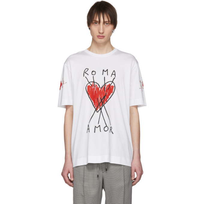 Photo: Fendi White Roma Amor Heart T-Shirt