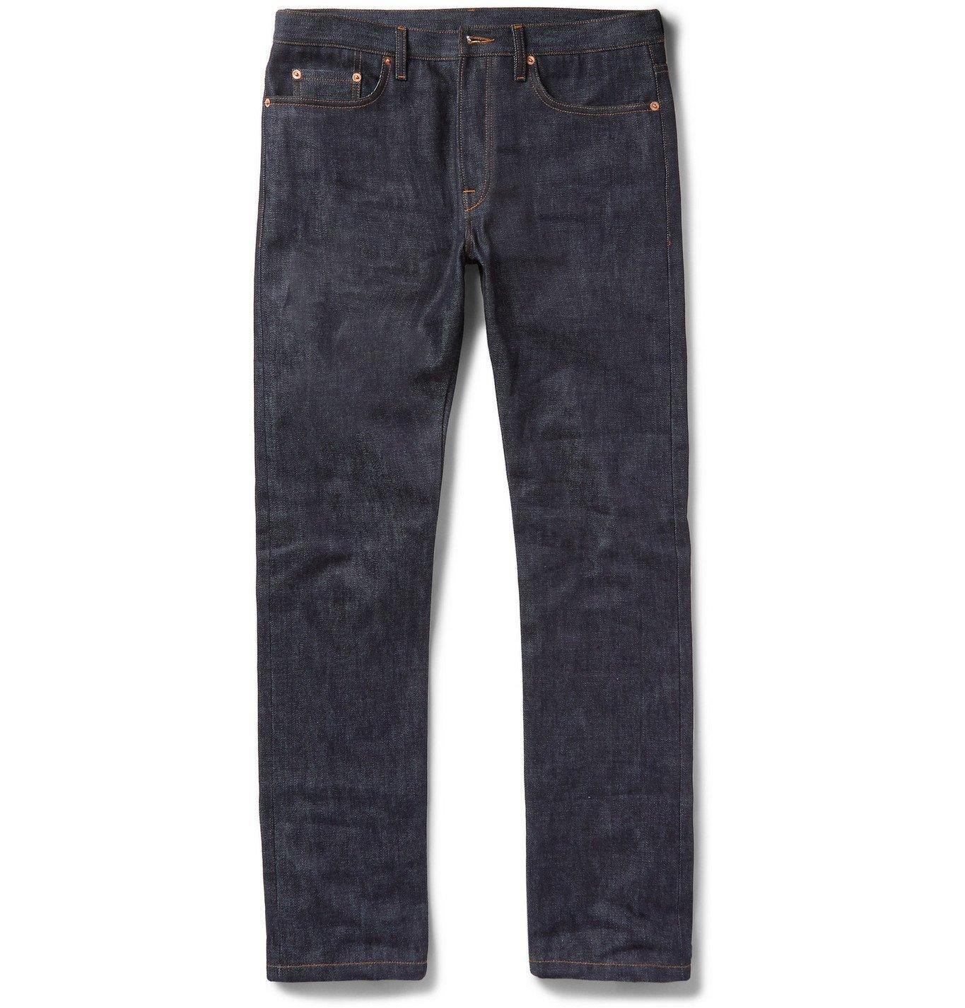 Photo: VALENTINO - Slim-Fit Selvedge Denim Jeans - Blue