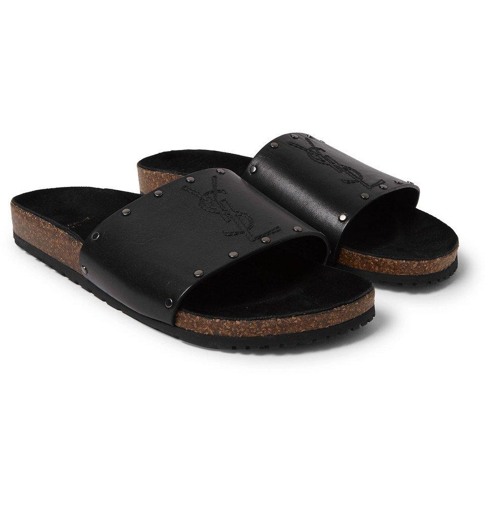 Photo: Saint Laurent - Studded Leather Slides - Black