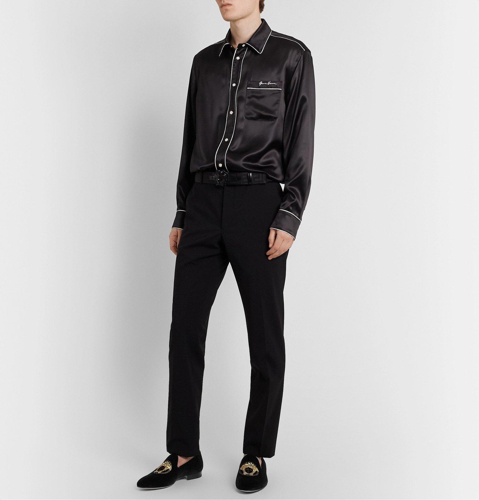 Versace - Logo-Embroidered Velvet Loafers - Black