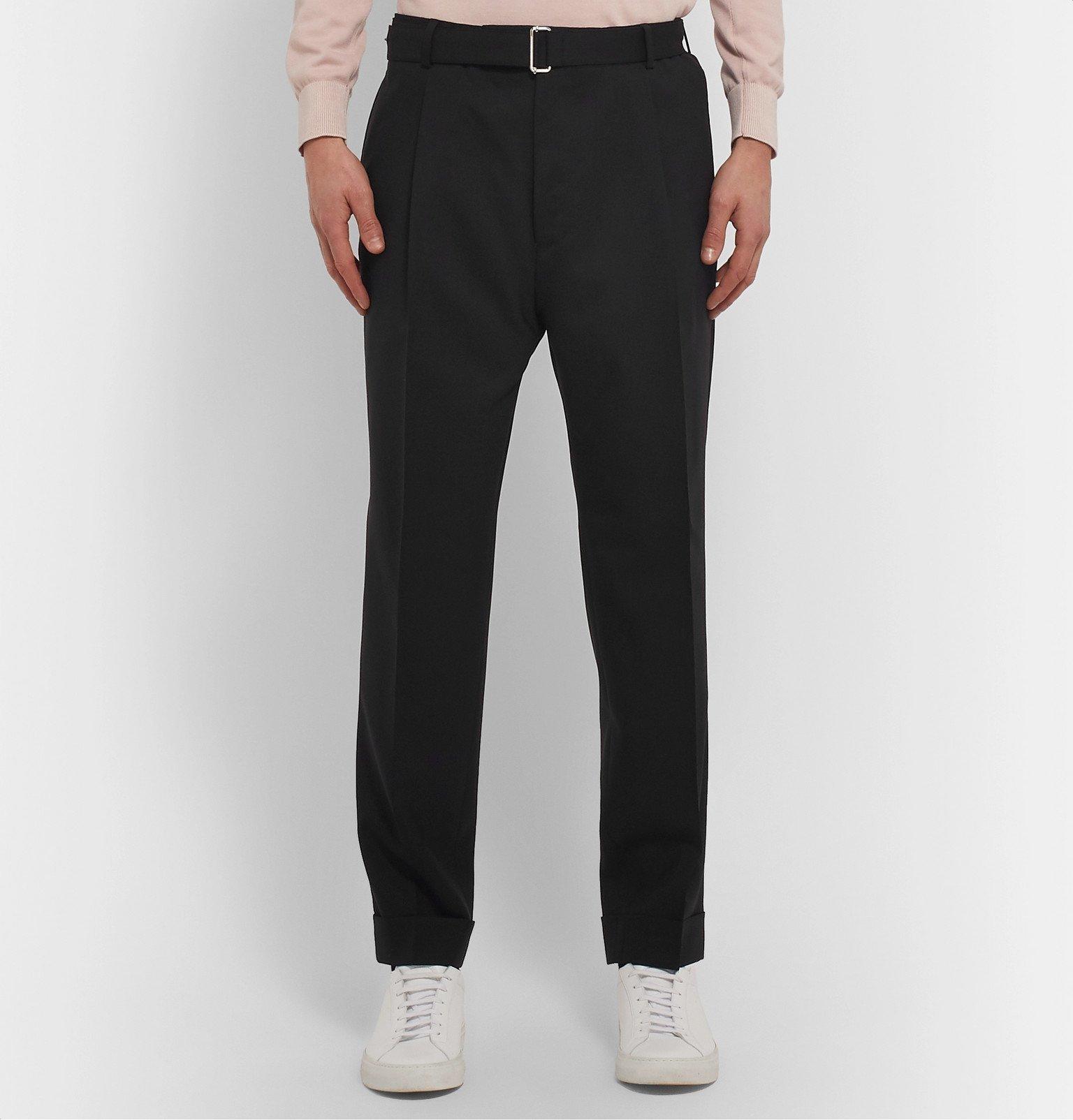 Officine Generale - Black Hugo Tapered Belted Wool Suit Trousers - Black