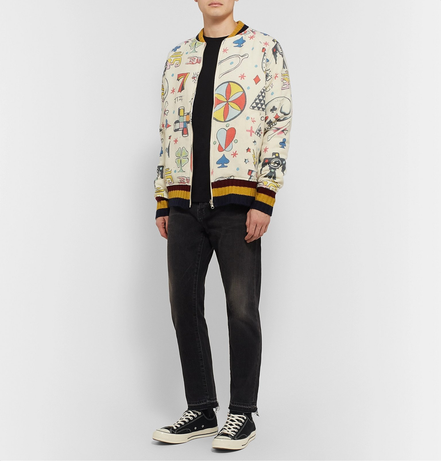 The Elder Statesman - Reversible Printed Wool, Cashmere and Cotton-Blend Bomber Jacket - Neutrals