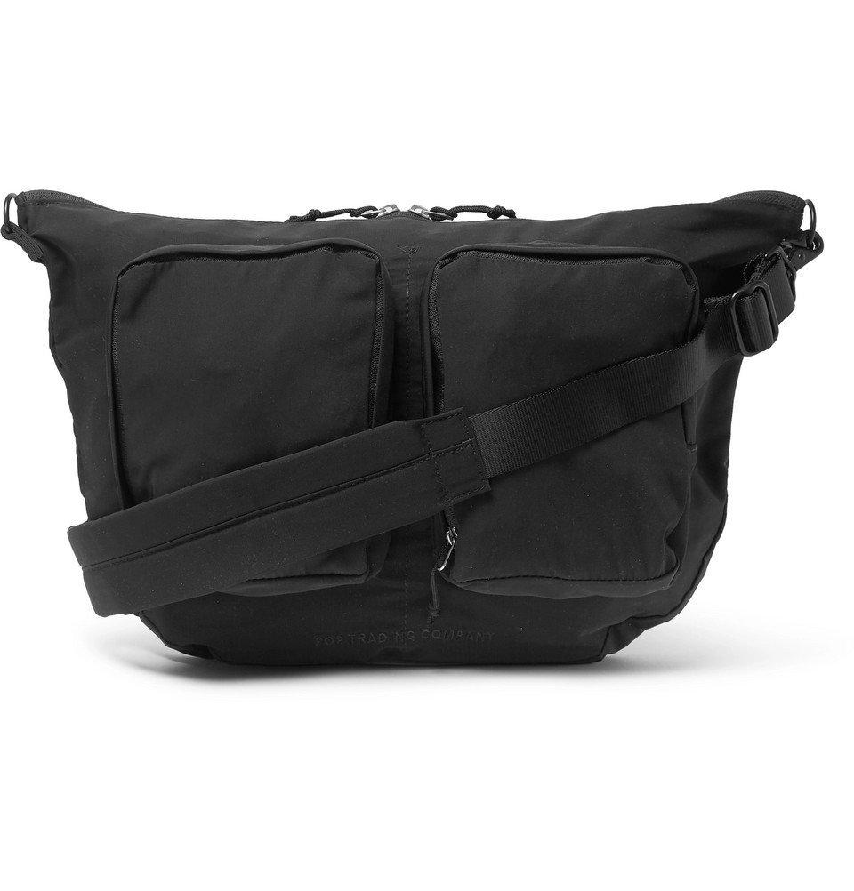 Photo: Pop Trading Company - Coated-Twill Messenger Bag - Black