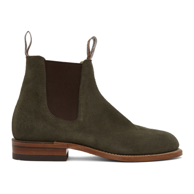 Photo: R.M. Williams Khaki Suede Turnout Chelsea Boots