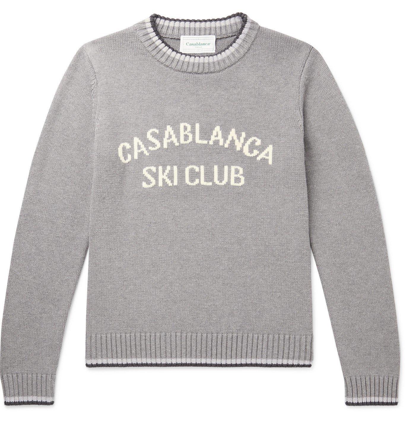 Photo: Casablanca - Striped Logo-Intarsia Cotton Sweater - Gray