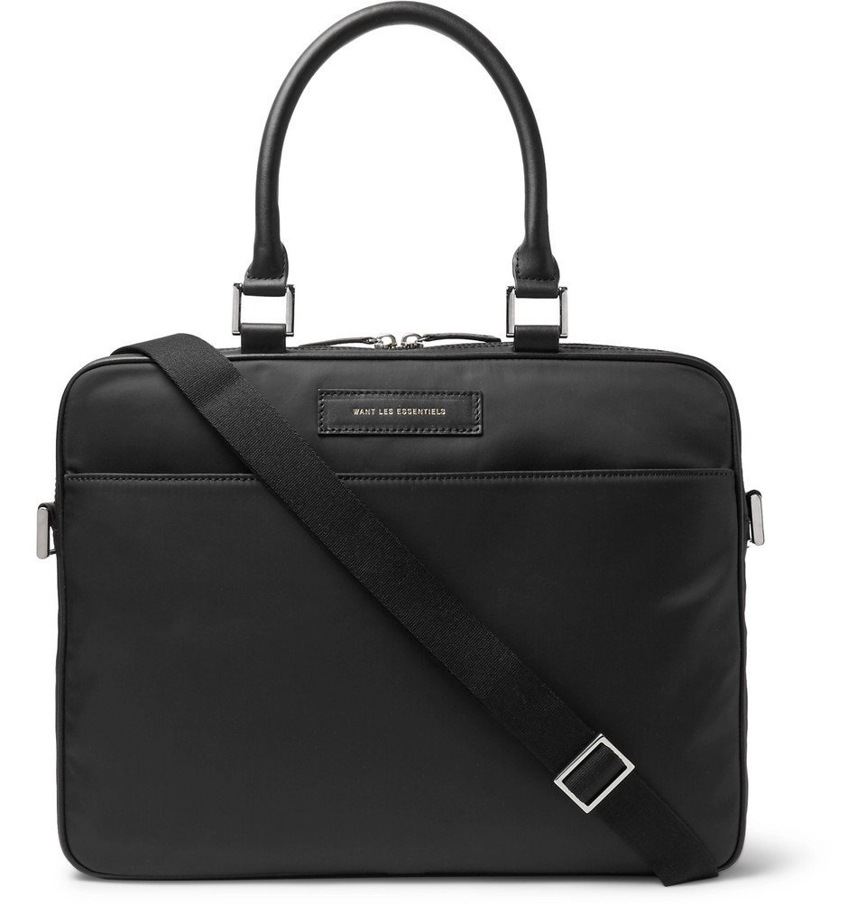 Photo: WANT LES ESSENTIELS - Haneda Leather-Trimmed Nylon Briefcase - Black