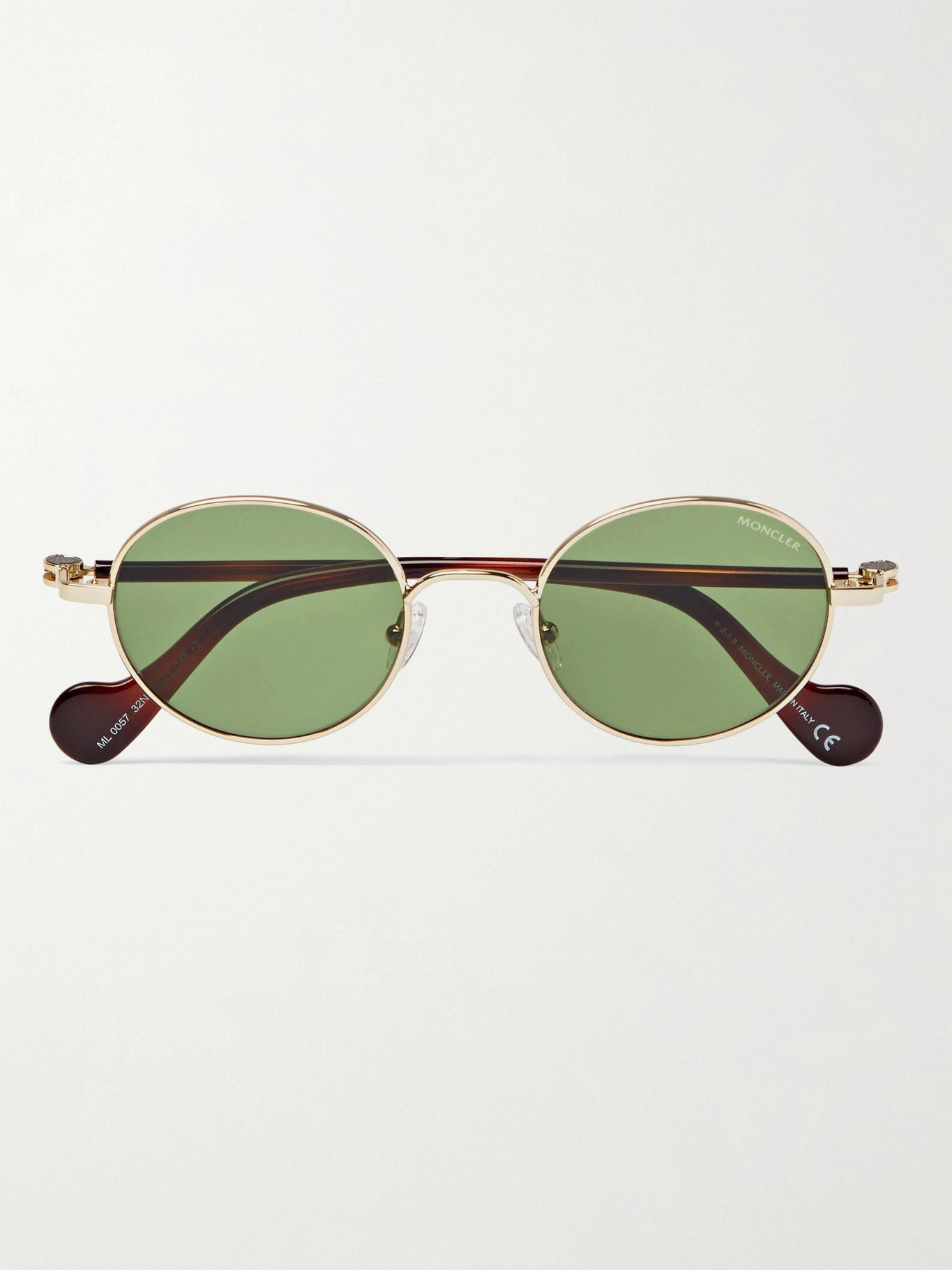 Photo: MONCLER - Round-Frame Gold-Tone and Tortoiseshell Acetate Sunglasses - Gold