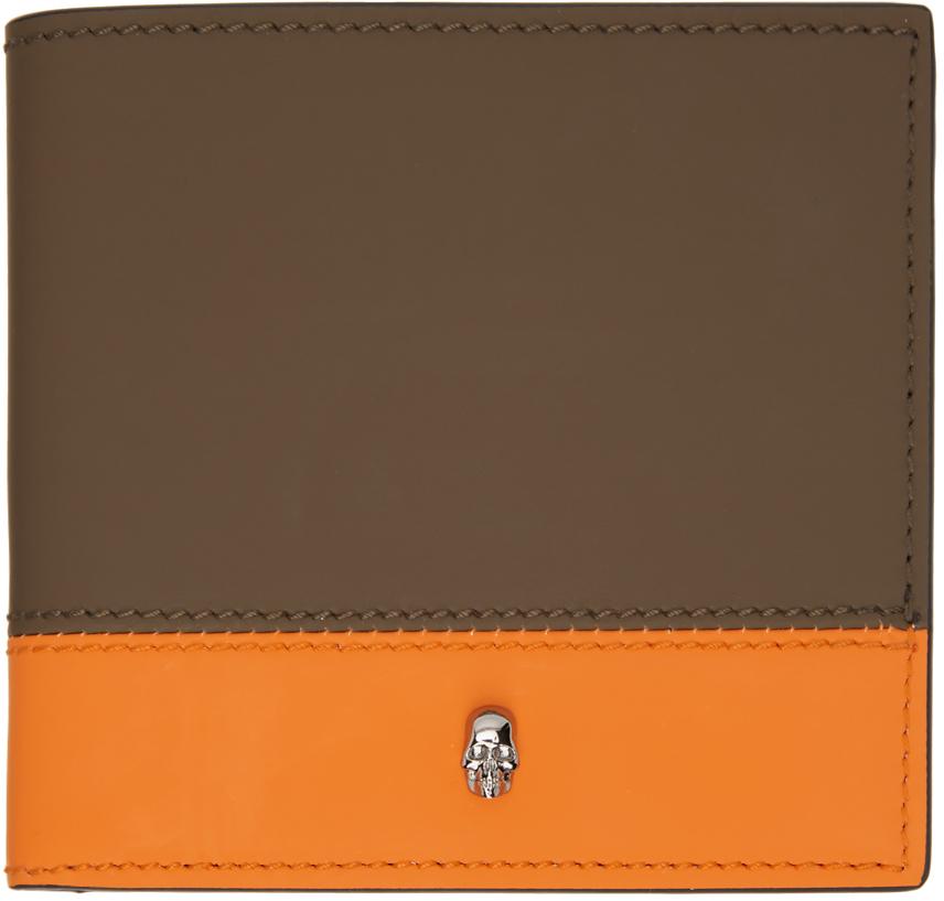 Photo: Alexander McQueen SSENSE Exclusive Khaki & Orange Bifold Wallet