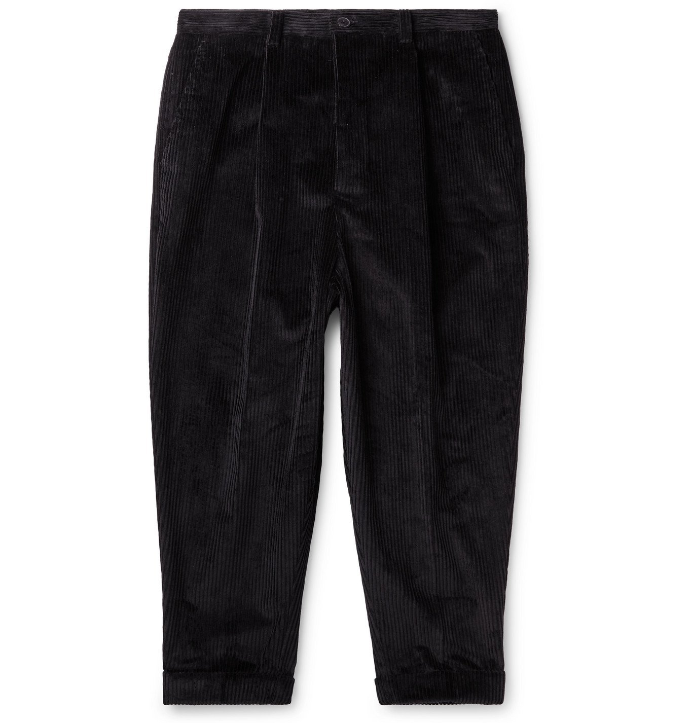 Photo: AMI - Cropped Tapered Cotton-Corduroy Trousers - Black