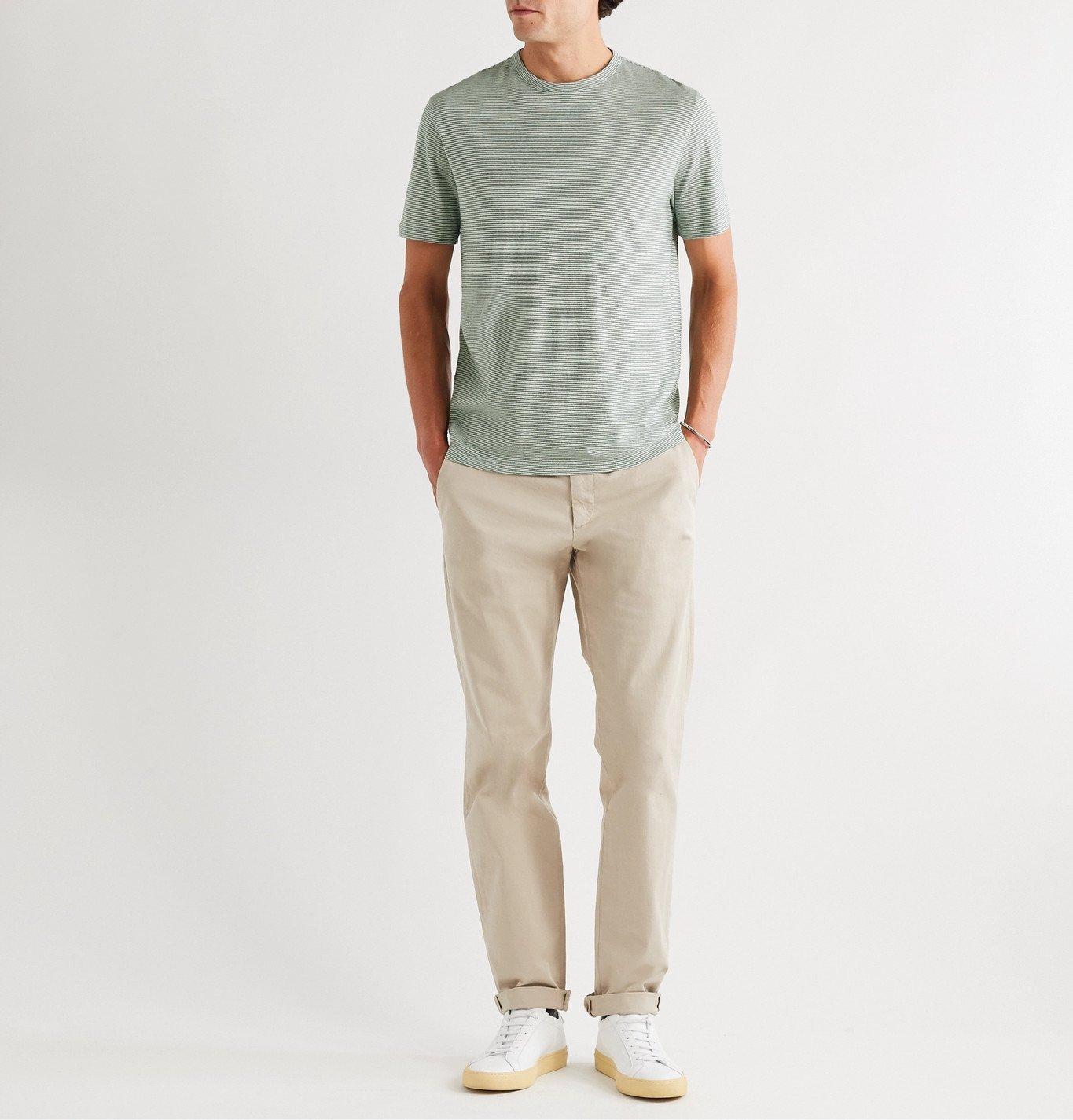 Officine Generale - Striped Cotton-Jersey T-Shirt - Green