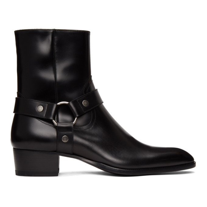 Photo: Saint Laurent Black Wyatt Harness Boots