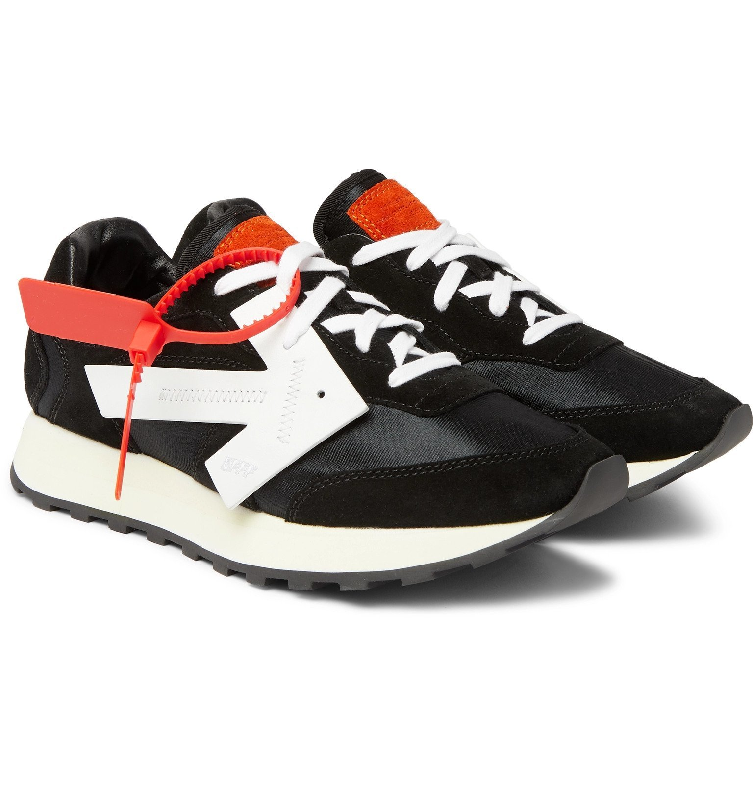 Photo: Off-White - Runner Leather-Trimmed Suede and Shell Sneakers - Black