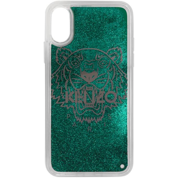 Photo: Kenzo Green Glitter Tiger Head iPhone X/XS Case