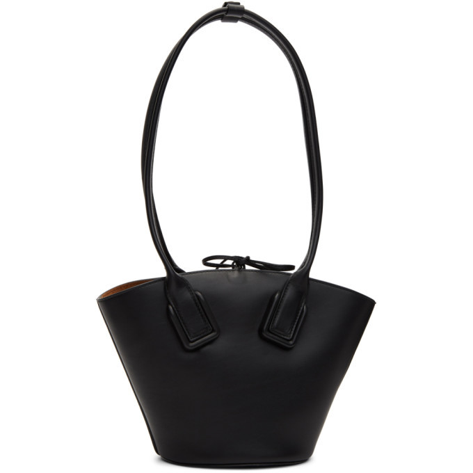 Photo: Bottega Veneta Black Mini Basket Tote