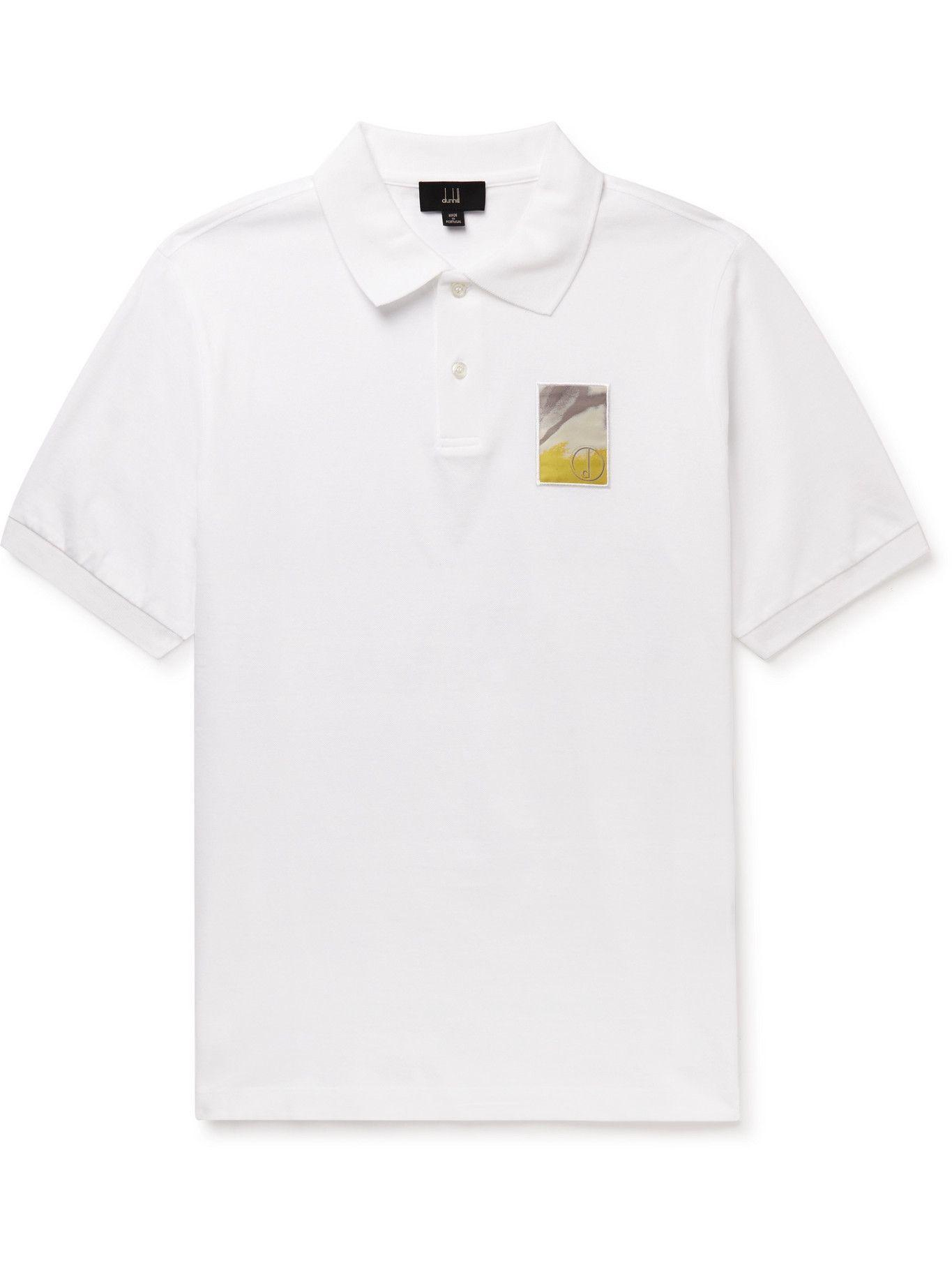 Photo: DUNHILL - Abrasion Logo-Appliquéd Cotton-Piqué Polo Shirt - White