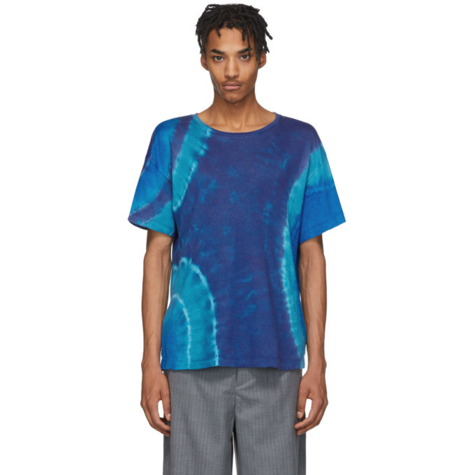 Photo: The Elder Statesman Blue Cashmere Tie-Dye T-Shirt