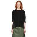 Sacai Black Wool and Cotton Poplin Sweater