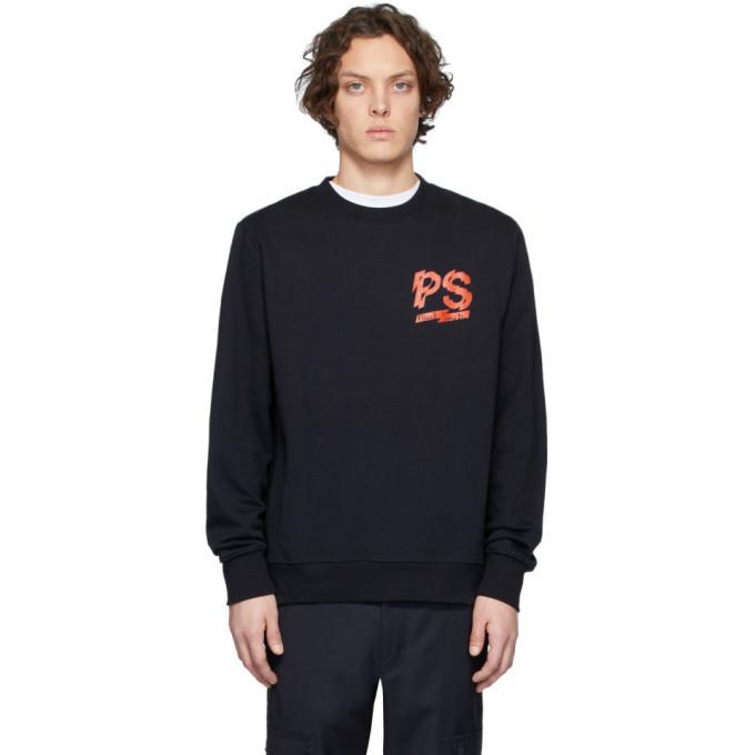 Photo: PS by Paul Smith Navy Fleece Logo Sweatshirt