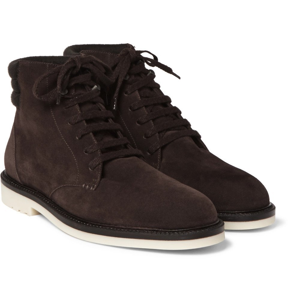Photo: Loro Piana - Icer Walk Cashmere-Trimmed Suede Boots - Men - Brown