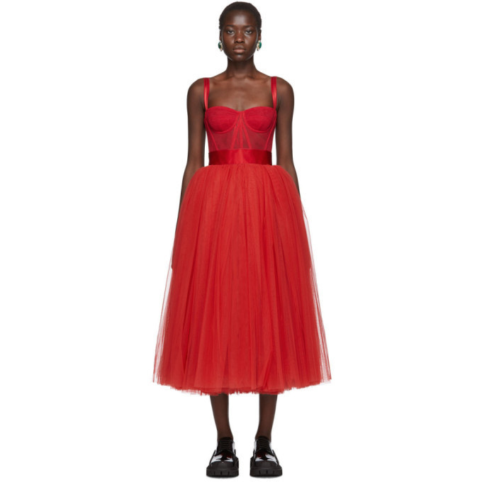 Photo: Dolce and Gabbana Red Tulle Bustier Dress