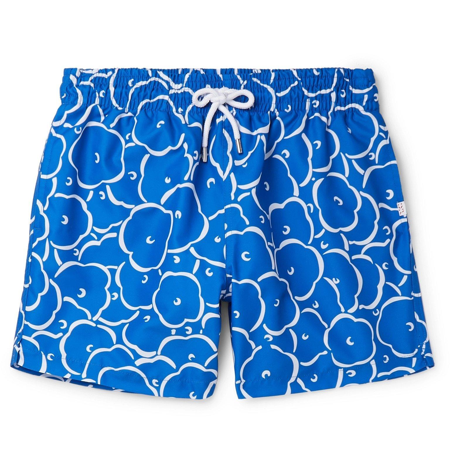 Photo: Derek Rose - Maui 25 Slim-Fit Mid-Length Printed Swim Shorts - Blue