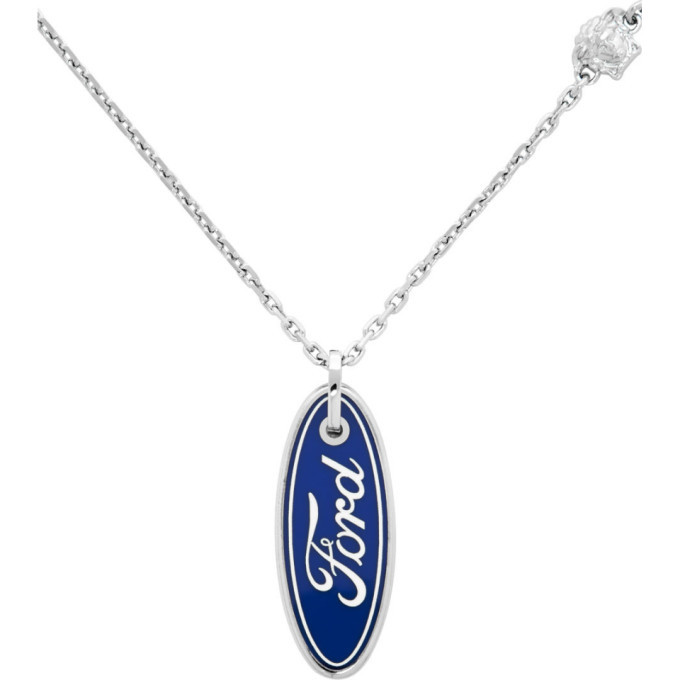Versace Silver Ford Edition Logo Necklace