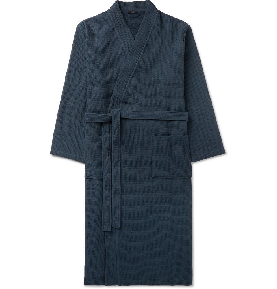 Schiesser - Waffle-Knit Cotton Robe - Navy