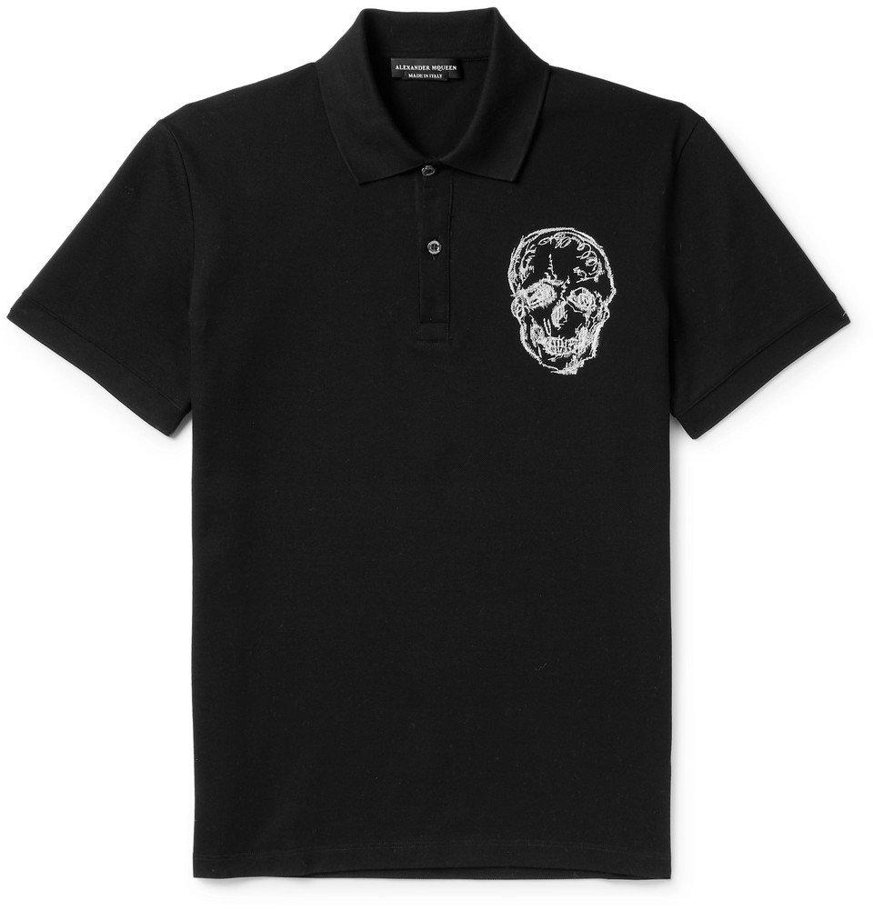 Photo: Alexander McQueen - Slim-Fit Embroidered Cotton-Piqué Polo Shirt - Black